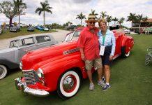Mel Lipschitz and partner Barbara Romano with their stunning 1941 Cadillac Convertible Sedan