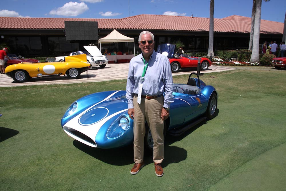 Palm Beach collector Larry Wilson alongside his famous Scarab racer