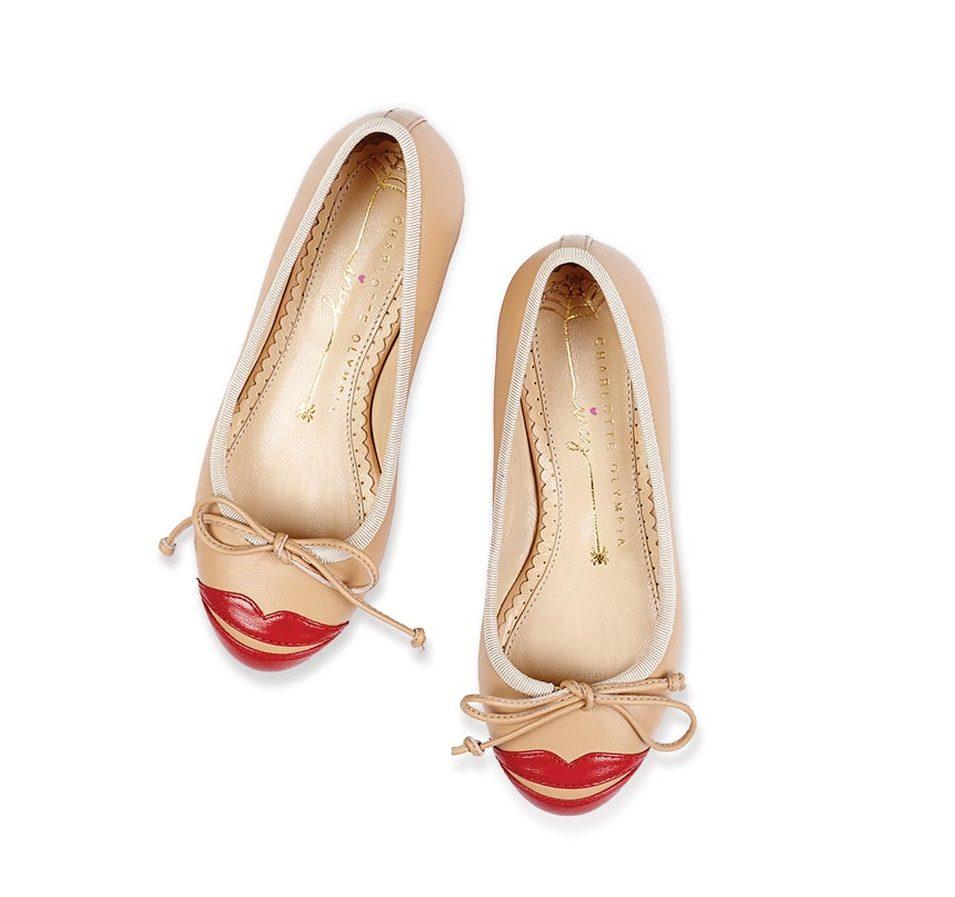 Children's Incy Kiss Me Darcy ballerina flats in nude calfskin ($325), Charlotte Olympia