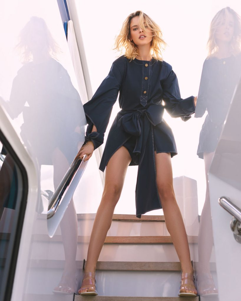 Oscar de la Renta blouse, shorts; Salvatore Ferragamo heels