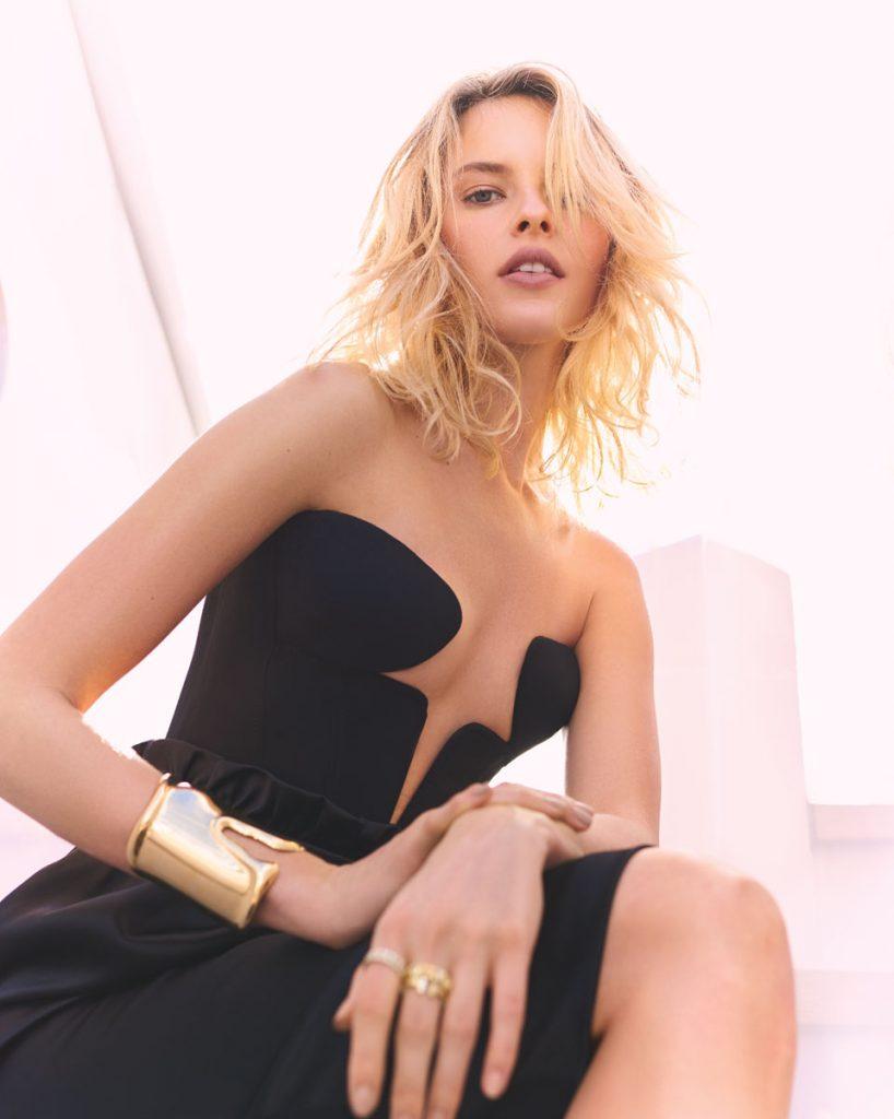 Versace bustier, skirt; Tiffany & Co. earrings