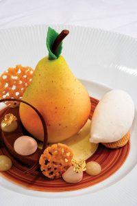 Caramelized pear and financier cake with vanilla gelato