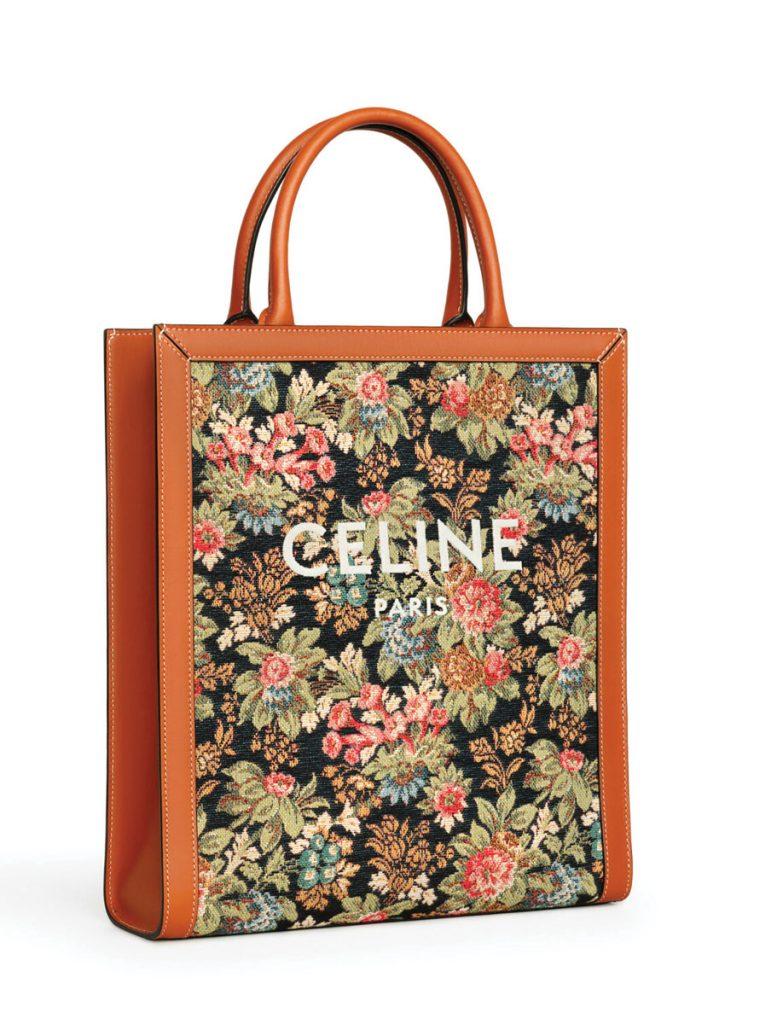 Celine Small handbag floral jacquard and calfskin