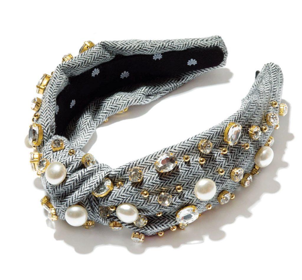 Lele Sadoughi Tweed Crystal Pearl Headband