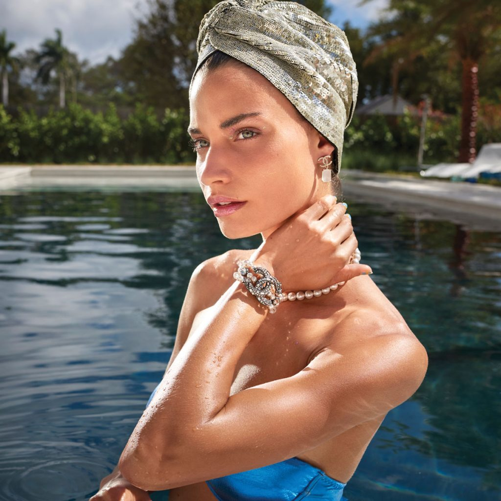 Rebekah Allred in Chanel jewelry, Mary Jane Claverol sequin turban, Photo by Danny Cardozo 4