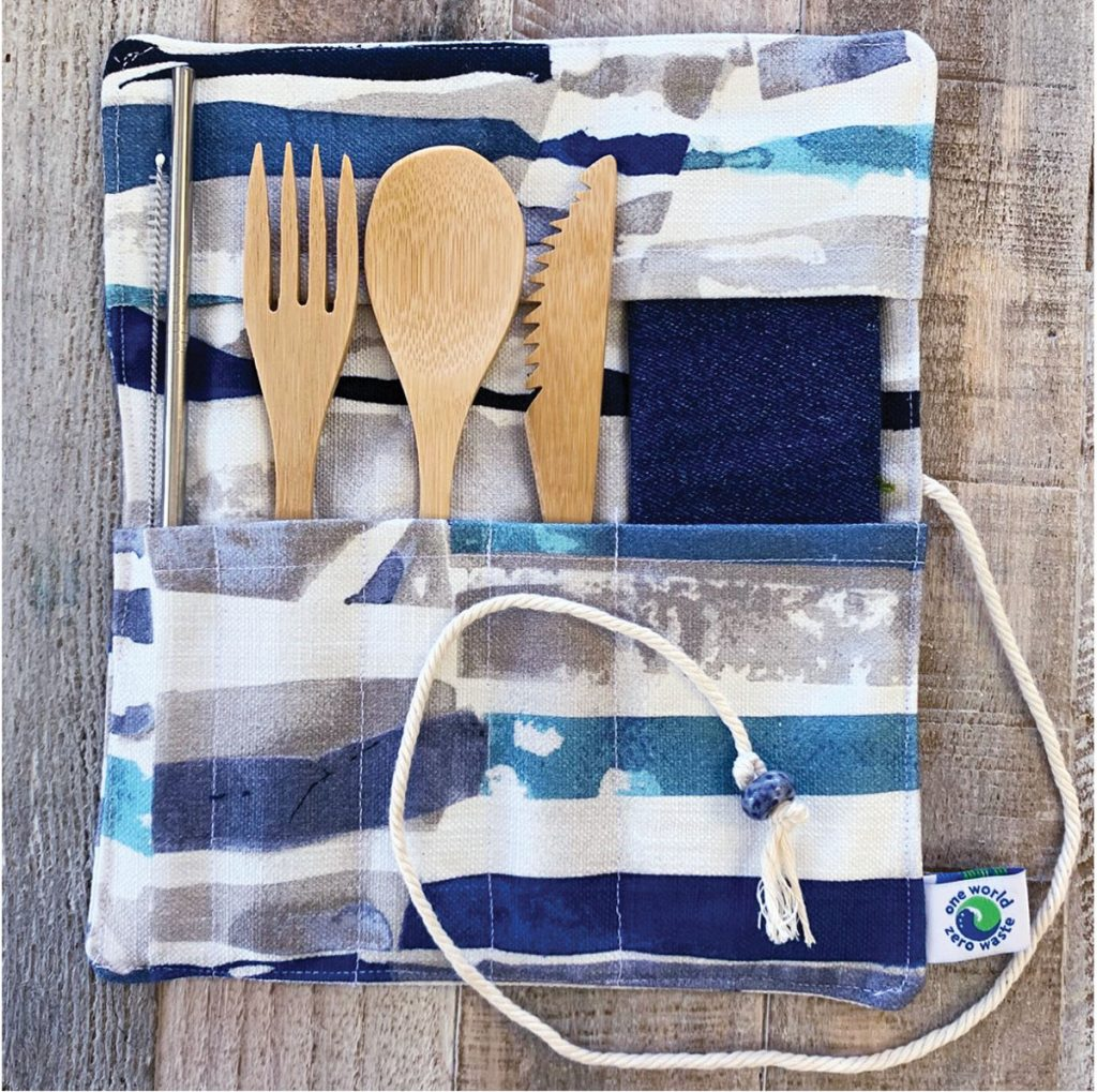 Based in Tequesta, One World Zero Waste's bamboo utensil kit ($30) includes a roll-up bag, napkin, fork, spoon, knife, straw, and straw cleaner. (oneworld-zerowaste.com)