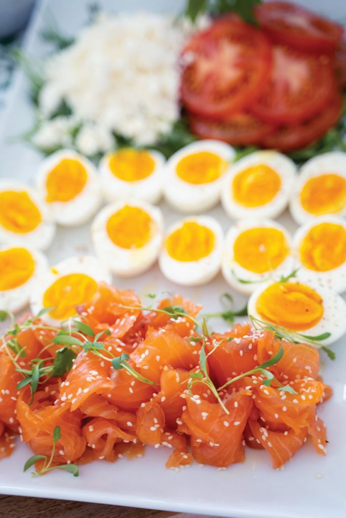 The meal also featured a platter of soft-boiled eggs and salmon.