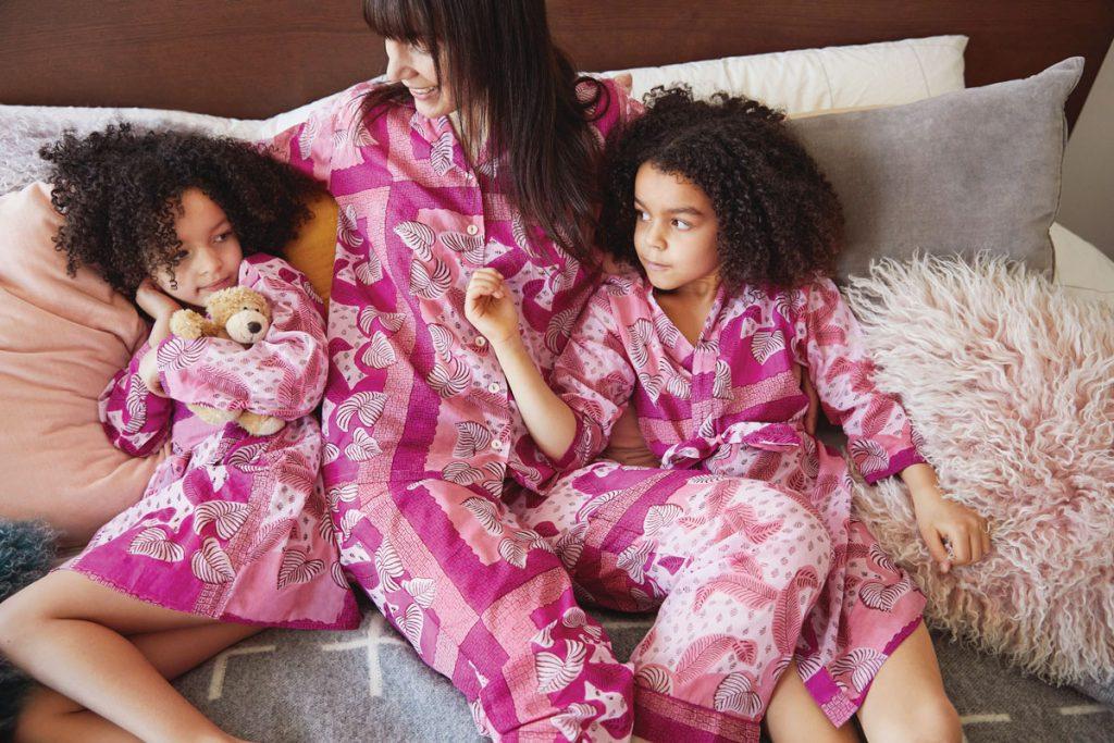 Maisonette x Banjanan Moondust pajamas in lilac sachet (women's $160, kids' $125), Maisonette