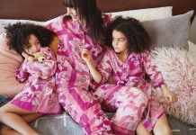 Maisonette x Banjanan Moondust pajamas in lilac sachet (women's $160, kids' $125), Maisonette