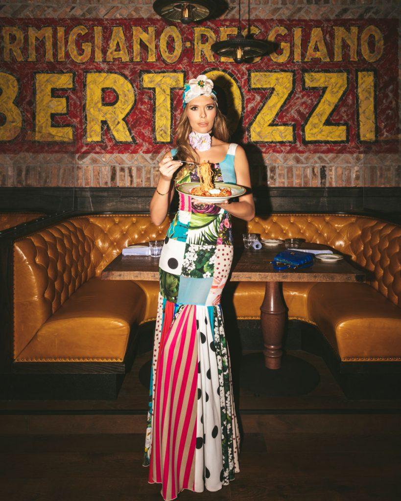 PBI, Bettina Anderson wearing Dolce & Gabbana at Elisabetta's Ristorante, Photo by Nick MEle