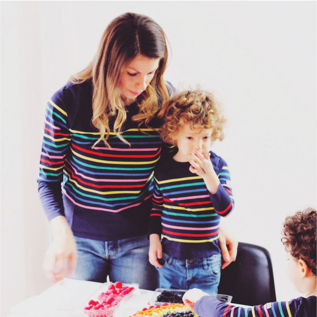 Pablo striped tee in navy:rainbow (women's $72, kids' $45), The Striped Sheep