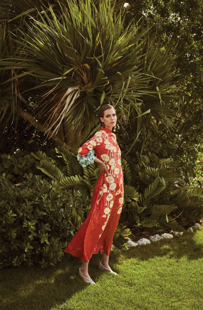 Gucci embroidered gown, white sandals, photo by Gabor Jurina