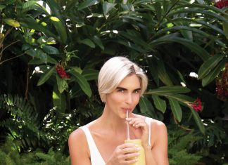 Ivey Leidy enjoying an Anti-Inflammatory Ginger-Turmeric Smoothie, photo by Kent Anderson