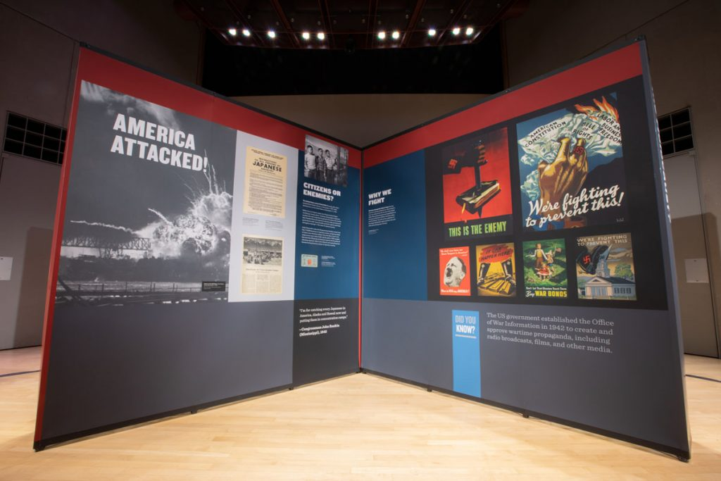 """The """"Americans and the Holocaust,"""" American Library Association (ALA) traveling exhibition. Photo courtesy of the United States Holocaust Memorial Museum"""