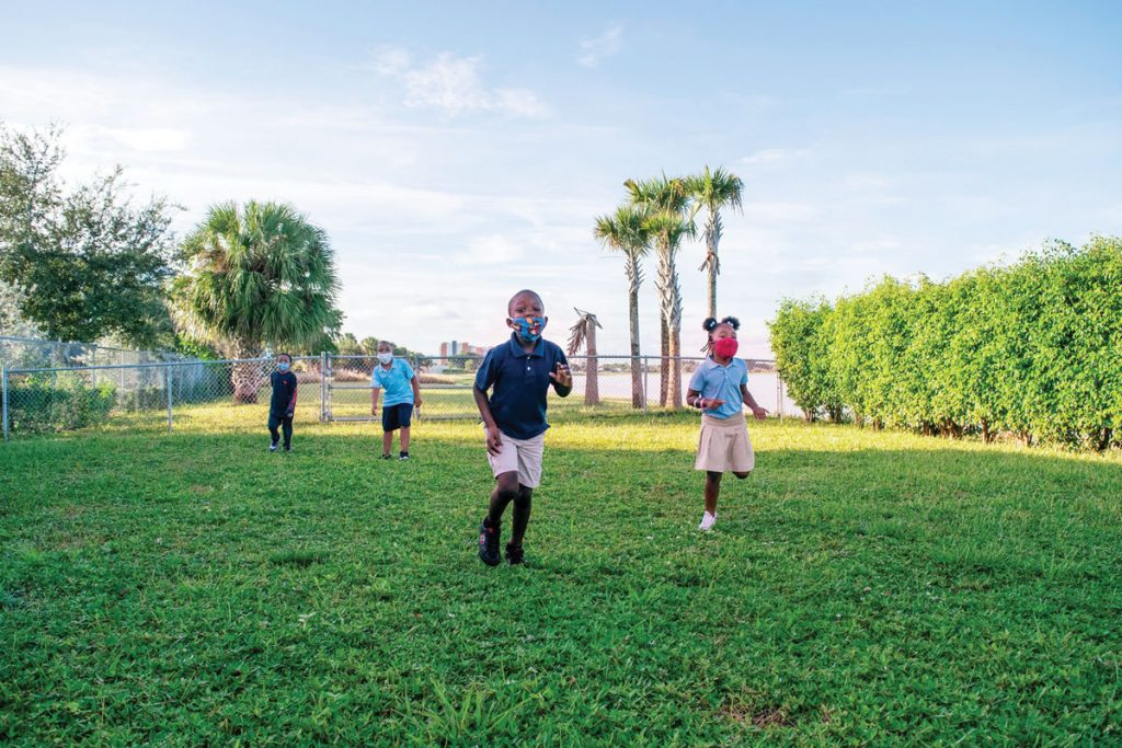 Children playing outside at Jupiter Christian School