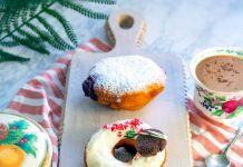 Doughnut flavors from top: Cranberry jelly filled, white chocolate peppermint, and ginger snap. Photo by Ashley Meyer.