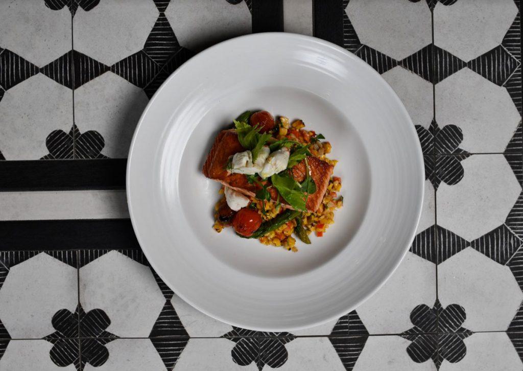 Scottish salmon with corn succotash at Warren American Whiskey Kitchen, photo by Felipe Cuevas